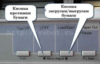 Кнопки загрузки и протяжки бумаги