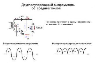 Схема выпрямления из двух диодов