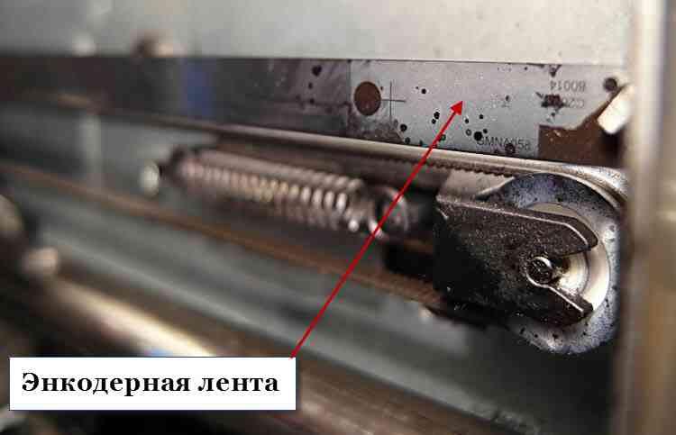 Загрязненная лента энкодерного датчика