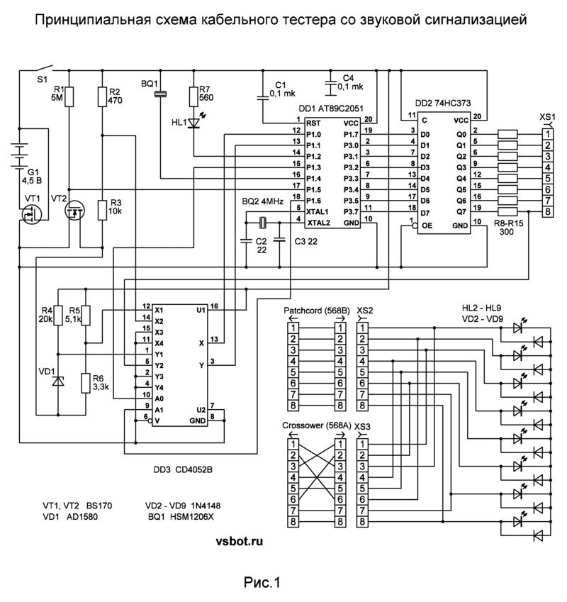 Схема кабельного пробника