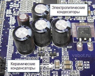 Электролитические и керамические конденсаторы