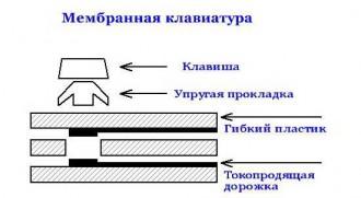 Мембранная клавиатура в разрезе