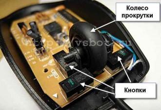 Колесо прокрутки и кнопки манипулятора