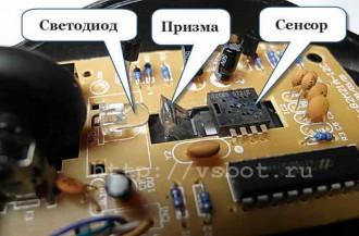 """Внутреннее устройство оптической """"мыши"""""""