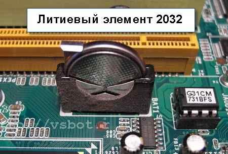 Литиевый элемент 2032