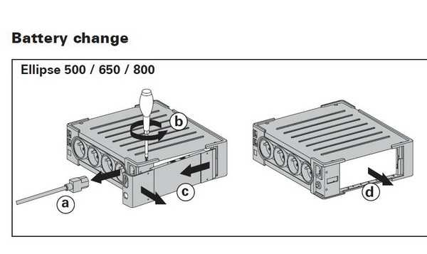 Замена батареи в EATON 800