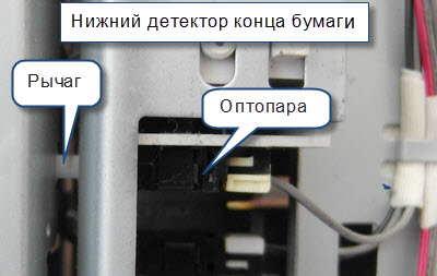 Нижний детектор конца бумаги