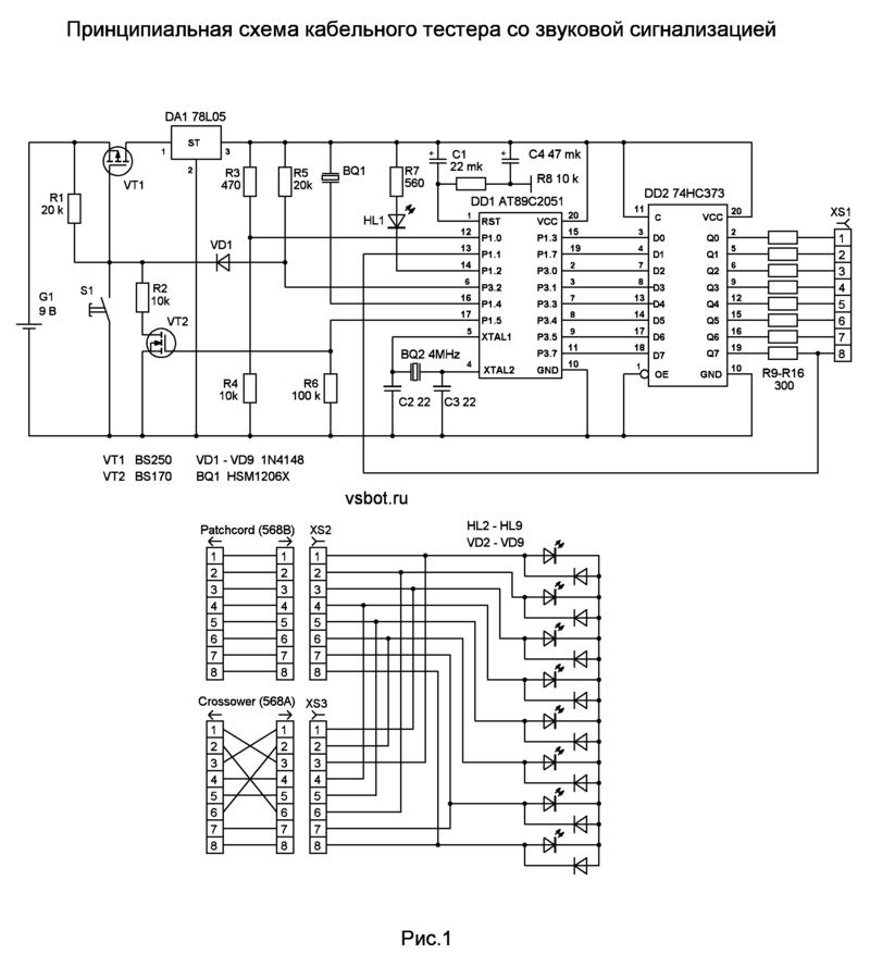 Схема кабельного тестера на контроллере