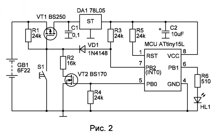 Иллюстрация включения и выключения микроконтроллера