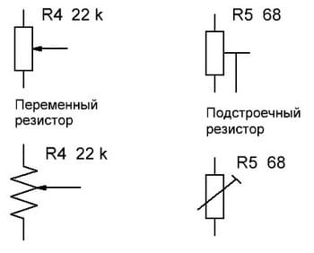 Обозначения переменных резисторов в схемах